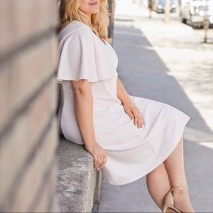 Liz Claiborne Blush Pink Flutter Sleeve Midi Dress